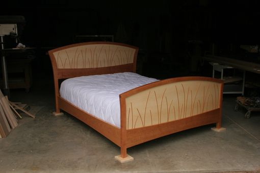 Custom Made Bed Frame King Size, Headboard, Platform Bed, Queen, Art Deco, Wood, Walnut, Curly Maple, Inlay