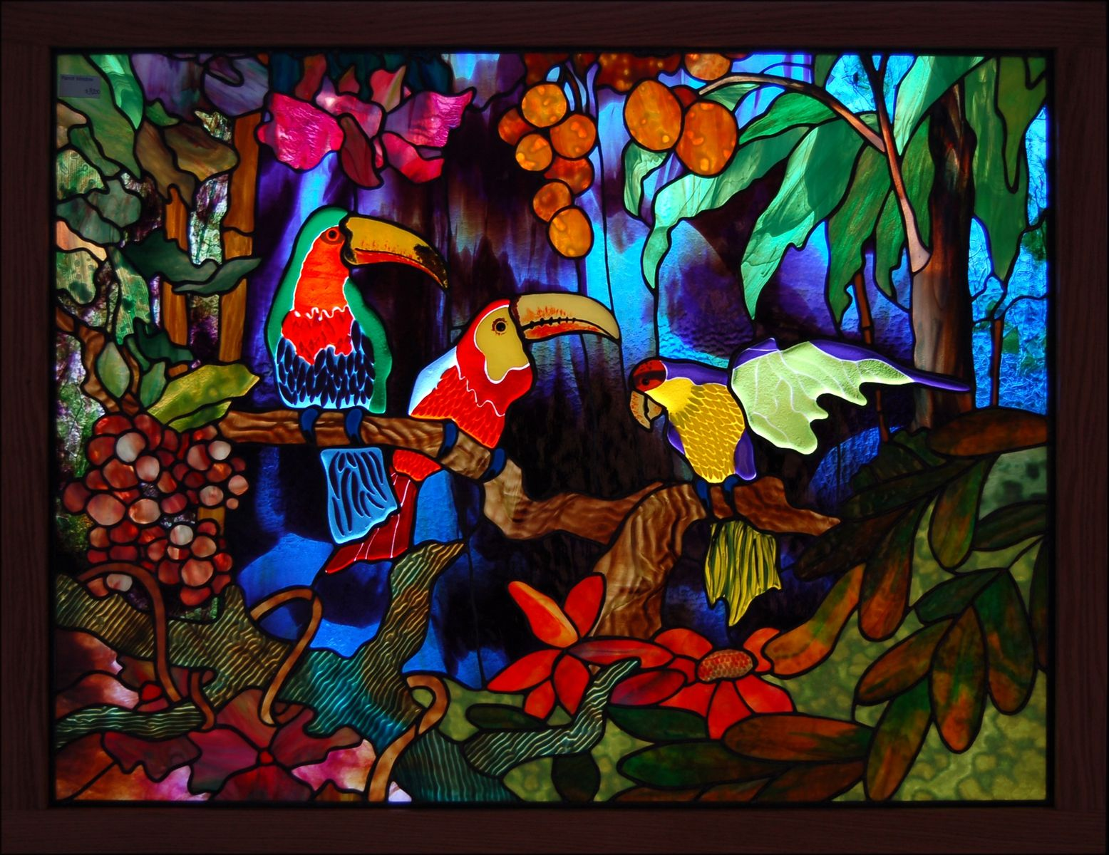 Hand Made Three Birds Fused Glass By Chuck Franklin Glass