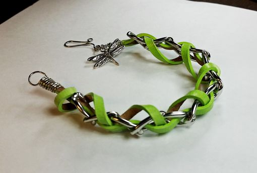 Custom Made Leather And Chain Bracelet