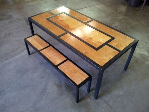 Custom Made Steel And Wood Modern Table