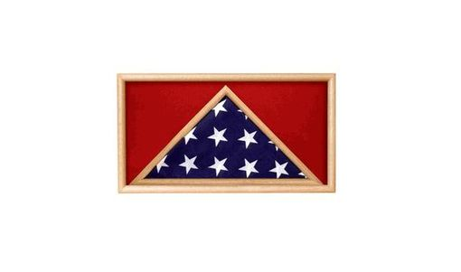 Custom Made Oak 5 X 9.5 Flag Memorial Case - Rectangle - For Casket Flag