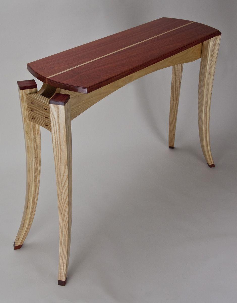 Hand Made Paduak Top Display Table Hall Table With Bent