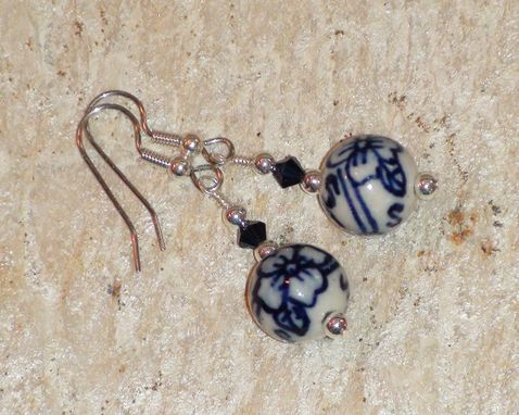 Custom Made Blue & White Porcelain Bead Earrings With Indigo Blue Swarovski Crystal Bicones