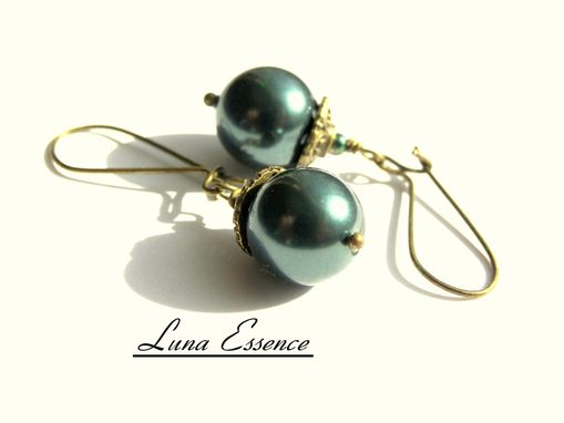 Custom Made Dark Teal Earrings 12mm Swarovski Pearls