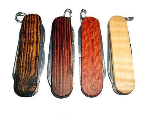 Custom Made Wooden Keychain Knives Swiss Army