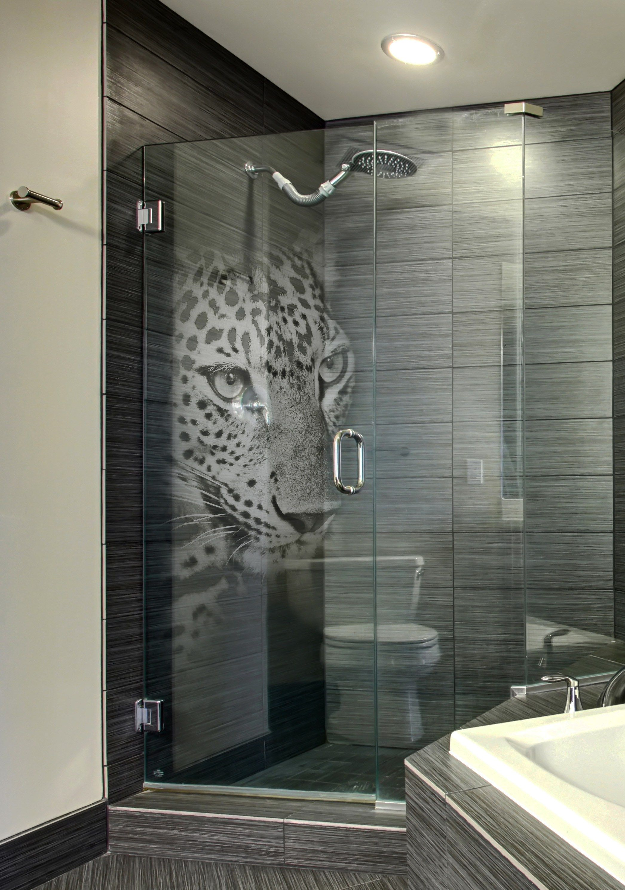 Custom Etched Glass Shower Door With 'Panther' 3d Laser ...