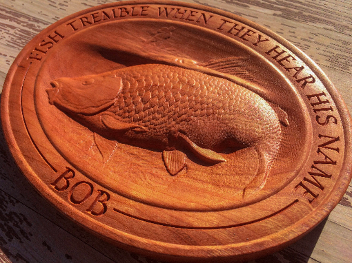 Custom Made 3d Carved Cherry Wood Fish Plaque