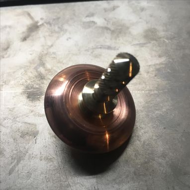 "Custom Made 1.25"" Diameter Copper And Bronze Spinning Top"