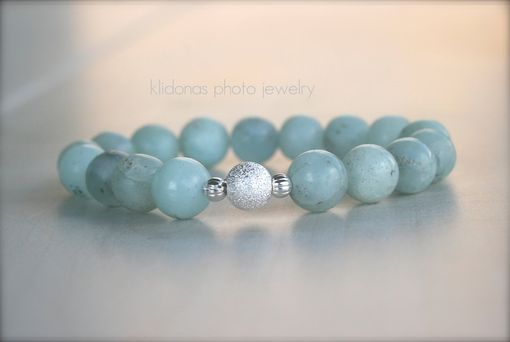 Custom Made Boho Chic Bracelet With Soft Blue Green Beads And Stardust Bead