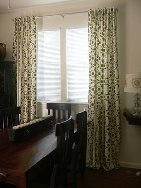 Custom Made Kaleidoscope Stripe Links- In Taupe. Pair Of Designer Rod Top Window Curtains Drapery Panels, Retro Style, 96 In, Any Size Availalbe
