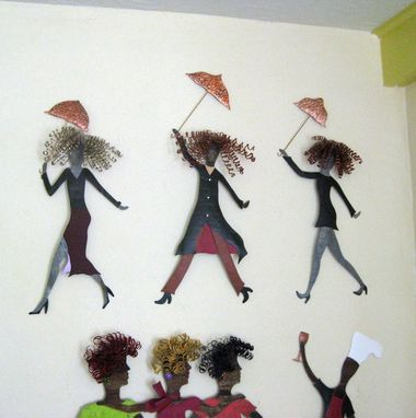 Custom Made Handmade Upcycled Metal Umbrella Gal In Black Wall Art Sculpture