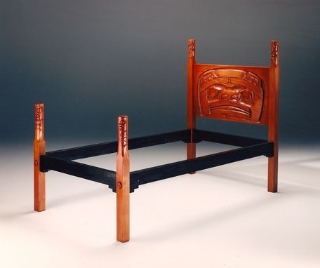 Custom Made Northwest Native American Carved Beds