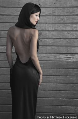 Custom Made Backless Silk Dress With Hood