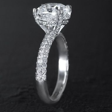 Custom Made Custom 4 Carat Pave Diamond Engagement Set - Cushion Cut Center