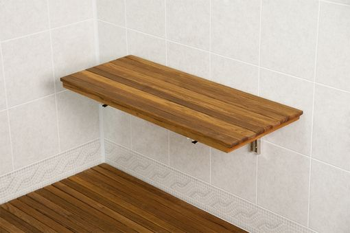 Custom Made Teak Wall-Mount Fold Down Bench