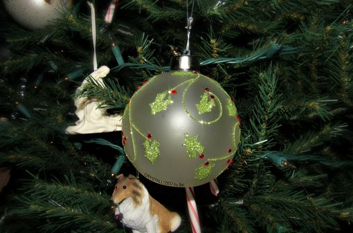 Custom Made Crystallized Light Up Christmas Ball Holly Ornament Made With Swarovski Crystals