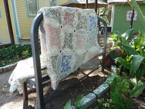 Custom Made Mosaic Tile Quilt Bench
