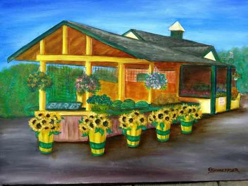 Custom Made Oil Painting Of Farmstand With Sunflowers