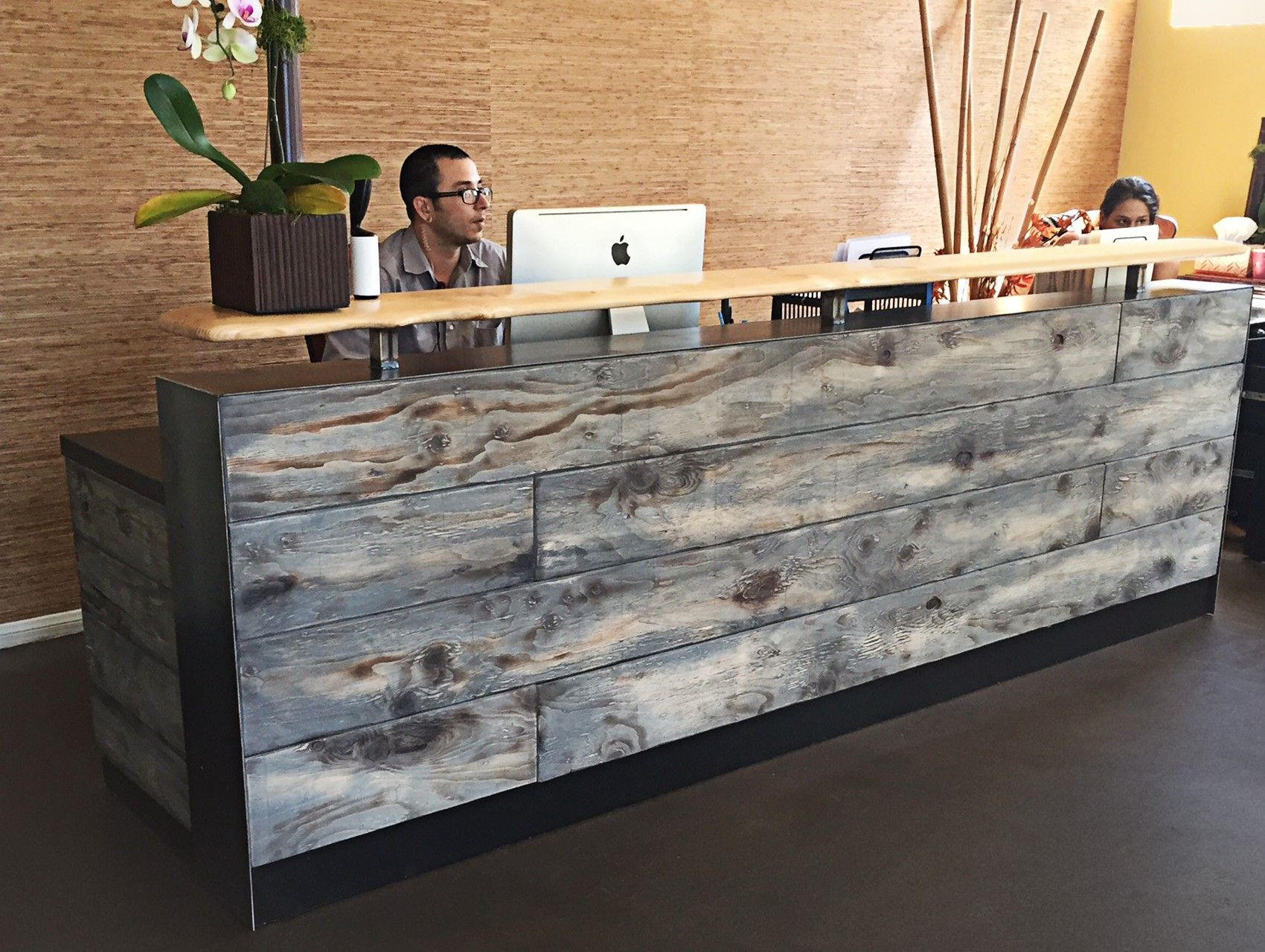 Custom Made 8 Reclaimed Distressed Wood Reception Desk