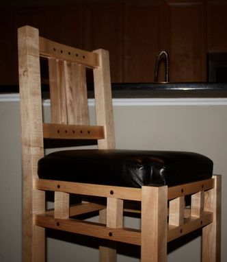 Custom Made Modern Kitchen Maple Stool With Decorative Inlaid Walnut Plugs