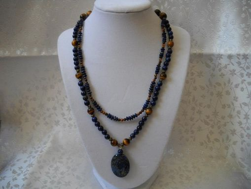 Custom Made Small Lapis And Tigers Eye Necklace