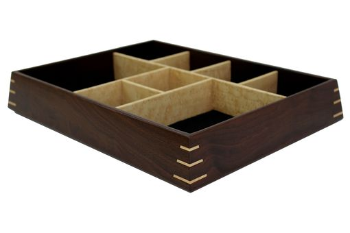 Custom Made Valet & Watch Box | Solid Peruvian Walnut With Birdseye Maple Dividers And Splines