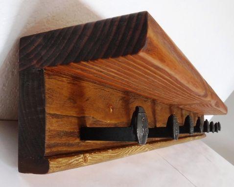 Buy A Hand Made Railroad Spike Coat Rack Reclaimed Rustic Hook Wood New Traditional Dark Walnut Finish Wood Coat Rack