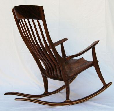 Custom Made Figured Walnut Rocking Chair