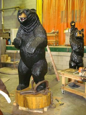 Custom Made Carved Black Bear In Trap