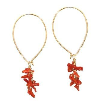 Custom Made Red Coral Earrings