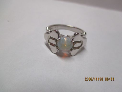 Custom Made You Are My Destiny, X Theme On Bothj Sides In 14k White With Natural Opal