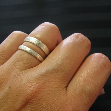 Custom Made Sterling Silver Hammered Texture Simple Wedding Band Set By Cristina Hurley