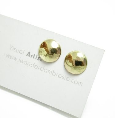 Custom Made Hammered Brass Studs - Yellow Brass Earrings - Peined Gold Earrings - Gold Post Earrings
