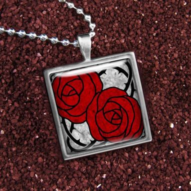 Custom Made Red Art Nouveau Rose & Barb Wire Silver Necklace 170-Ssn