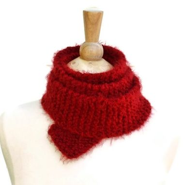 Custom Made Knitted Red Skinny Scarf Soft Warm Plush Long Winter