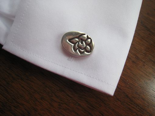 Custom Made Sterling Silver Cufflinks With A Custom Flower Floral Design