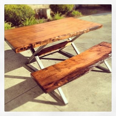 Custom Made 600 Year Old Redwood Live Edge Dinning Table Set