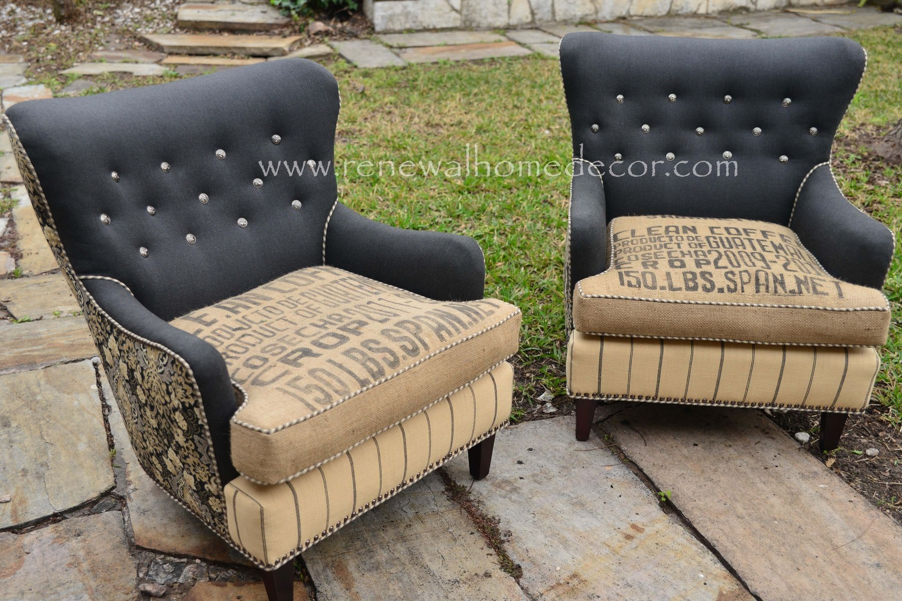 Handmade Vintage Damask Clean Coffee Chairs by ReNewal Home Decor