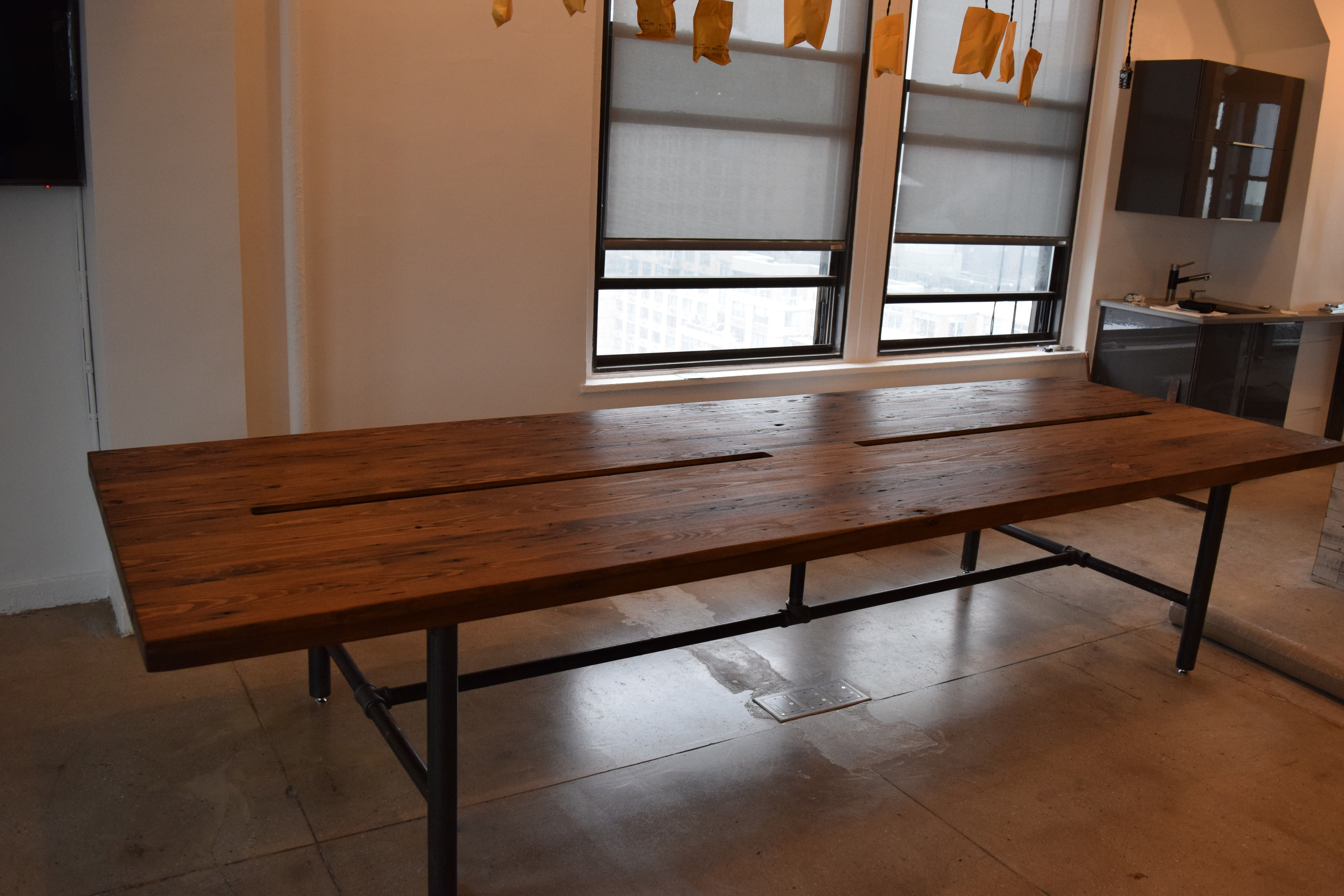 Reclaimed wood conference tables - Reclaimed Wood Conference Table With Pipe Legs