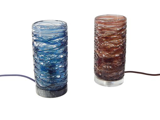 Custom Made Hand Blown Spun Glass Table Lamps