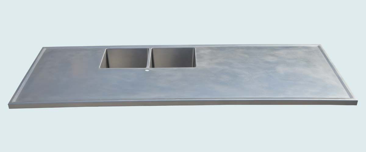Custom stainless countertop with 2 sinks marine edge by for Stainless steel countertop with integral sink