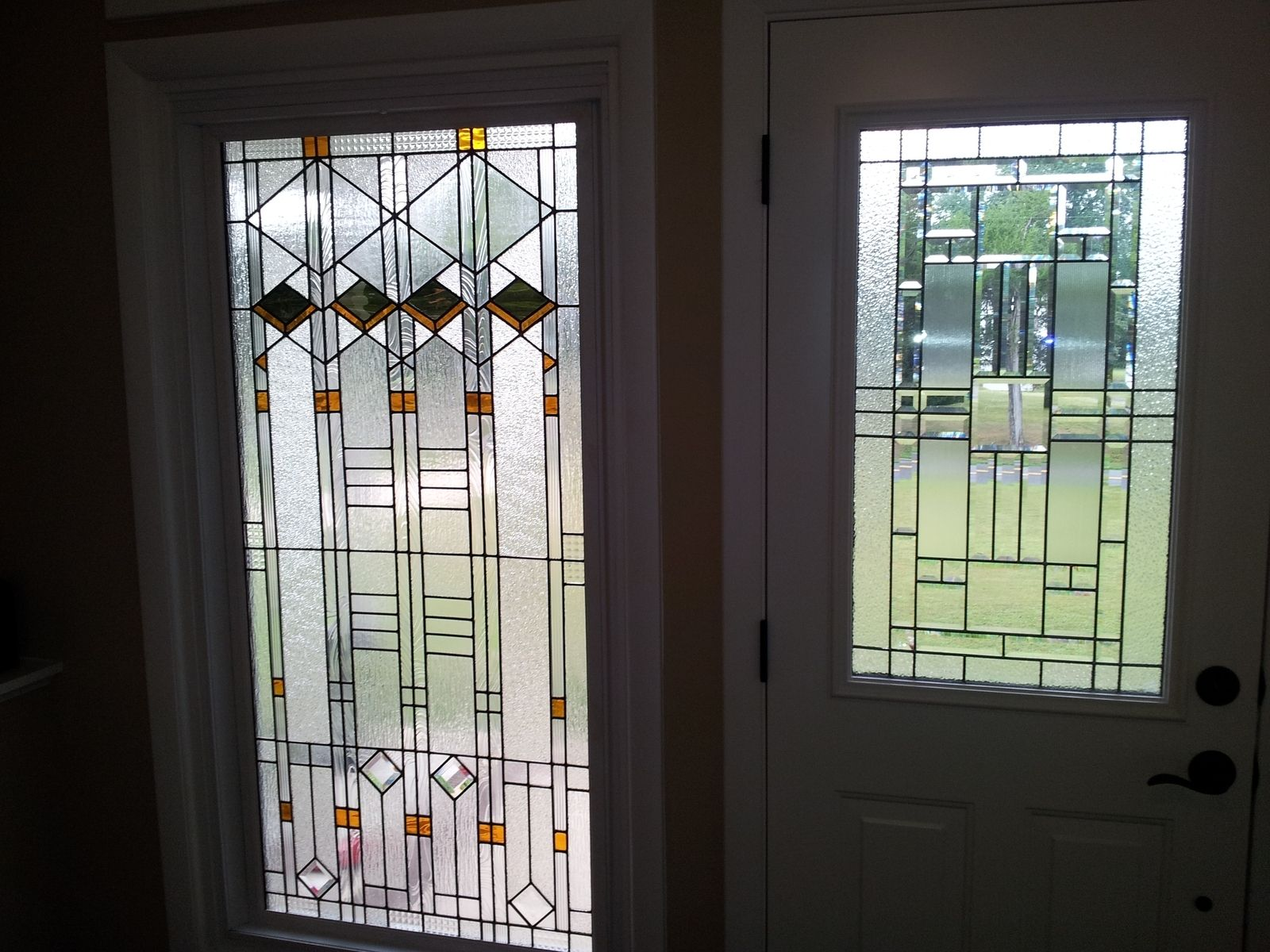 Hand made stained glass window elegant arts and crafts for Custom design windows