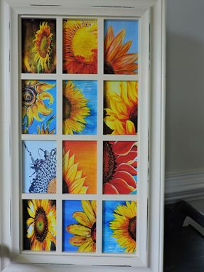 Custom Made Sunflower Theme Decoupage Glass Panel Wall Hanging