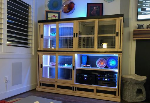 Custom Made Maple & Tigerwood Display Case With Wireless Led