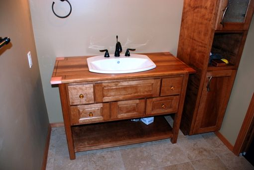 Custom Made Birch Vanity With Copper Accents