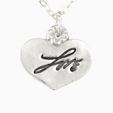 Custom Made Handwritten Sterling Silver Heart Pendant