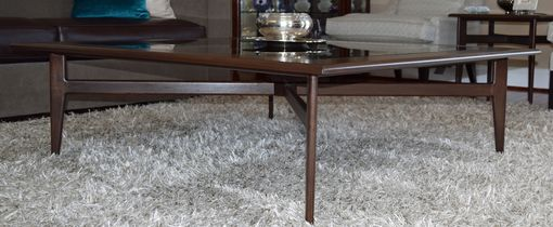 Custom Made Large Walnut & Glass Coffee Table