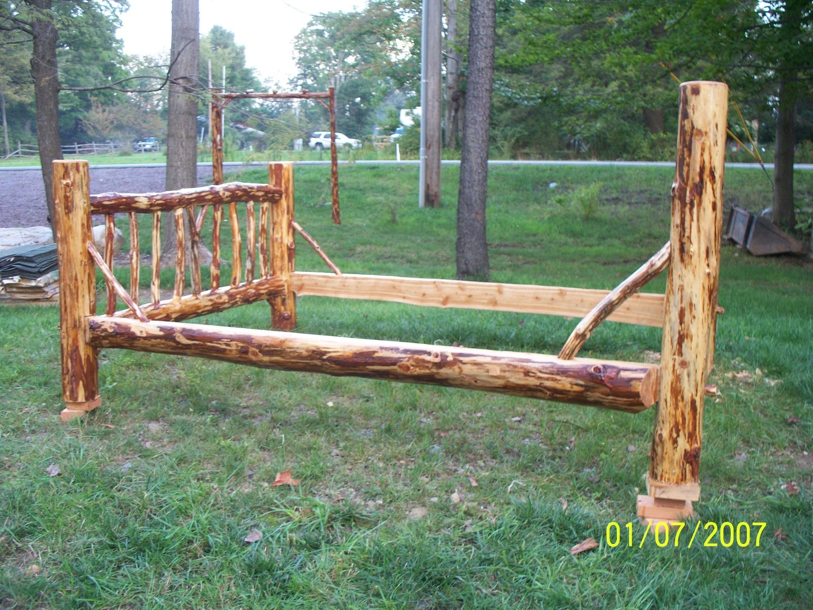 Hand Made Rustic Red Pine Log Bed By Raven Red Pine Log