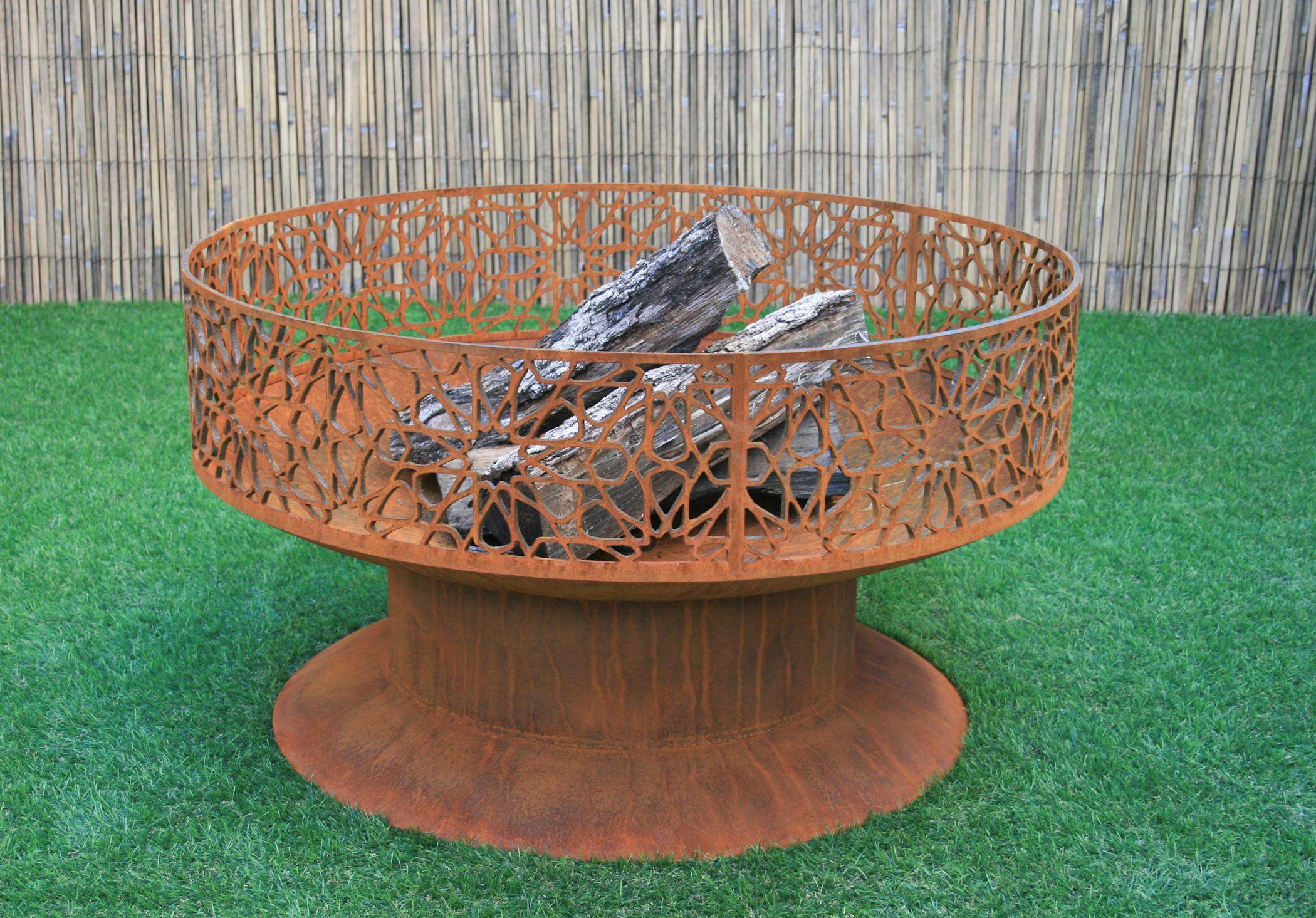 Custom Made Modern Fire Pit All Steel Firepit Mosaic Design Yard Art
