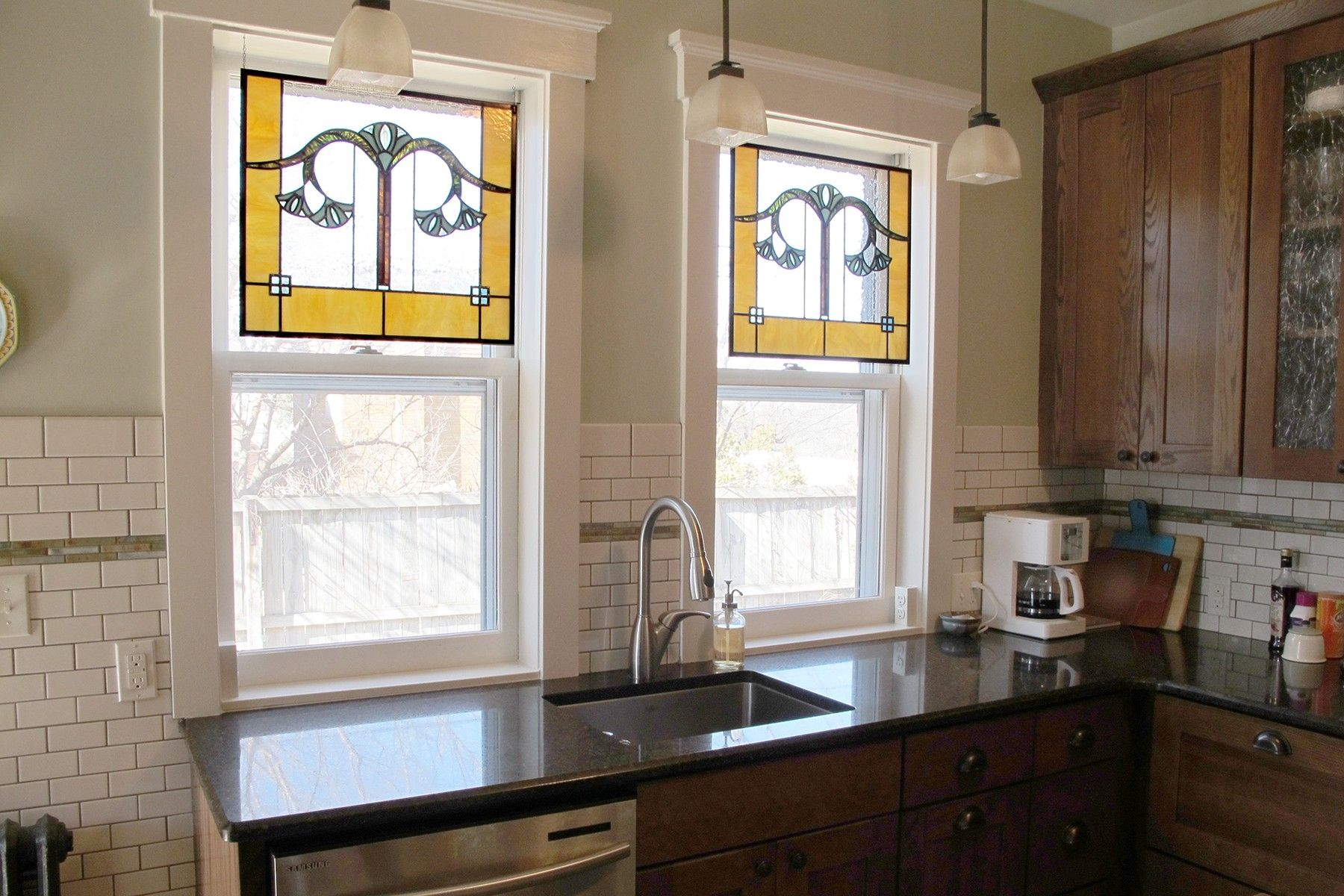 Custom Gingko Leaf Stained Glass Kitchen Windows By